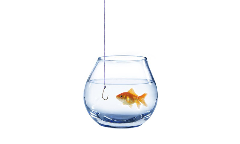 Fishing pole in fish bowl
