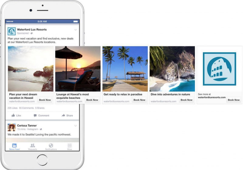 Facebook Trip Consideration preview on phone