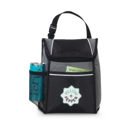 black lunch box with side pocket