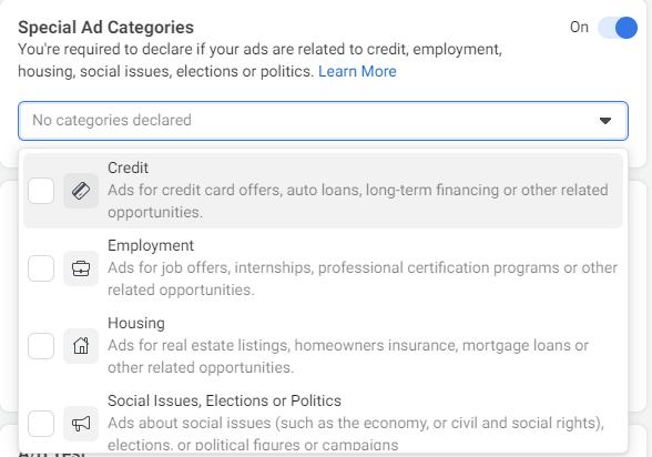 special ad categories